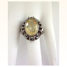Sterling Silver and Yellow Stone Ring - Size 8