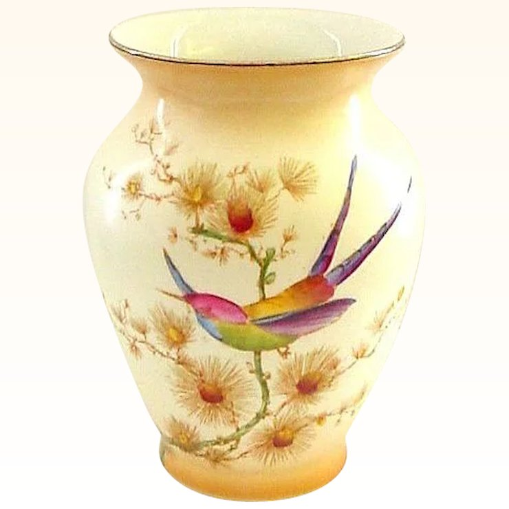 Crown Ducal Bird Of Paradise Handpainted Vase With Butterfly That