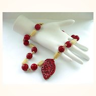 Wonderful  Necklace with Carved Chinese Cinnabar  Pendant and Carved Beads