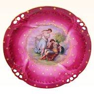 Ca. 1900 Antique Victoria Carlsbad Austria Bowl Fuschia Pink with Center Scene