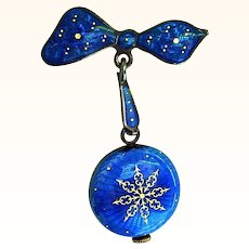 Cobalt Enamel on Sterling Swiss Watch with Matching Bow Pin by Nadine
