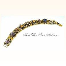 Faux Gemstone Bracelet in Antique Slide Style