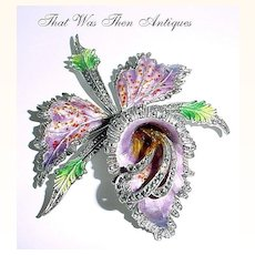 Huge Cattleya Orchid Enamel on Silver Pin Brooch