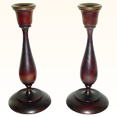 Pair of Elegant Turned Wood Candlesticks Candle Sticks