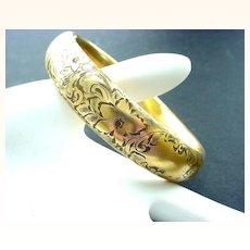 14K Gold Victorian Beautifully Engraved Bangle Bracelet