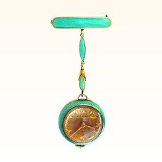 Amazing Bucherer Enamel Gilt Silver Pendant Watch plus Extras in Original Box!! Chain and Pin