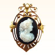 Antique 18K Yellow and Rose Gold Hardstone Agate or Onyx Cameo