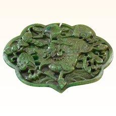Large Jade Ruyi Kylin Carved Pendant Plaque
