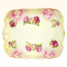Pretty Pink and Yellow Rose Decorated Silesia Tray