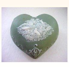 Schafer & Vater Jasperware Puffy Heart Shaped  Box