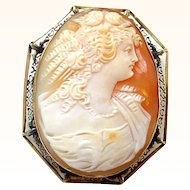 Large and Beautiful 14K Filigree Antique Cameo Pin Brooch or Pendant