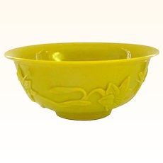 Carved Peking Glass Bowl with Orchids and Butterfly