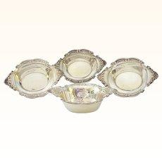 Group of 4 Sterling Silver Birks Open Salts or Nut Bowls