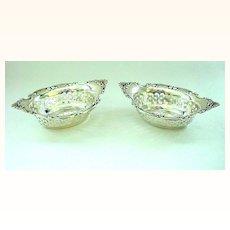 Pair (2) Gorham Sterling Silver Pierced Nut Bowls