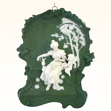 Very Large and Fabulous Volkstedt Plaque of Cupid Angel Woman Reading Letter - Excellent Condition!!