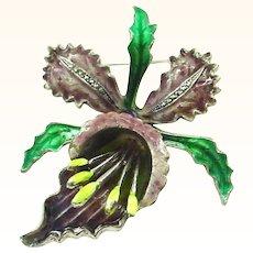 Beautiful Enamel on Silver Orchid Pin Brooch