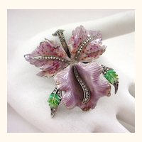 3 Dimensional Enamel on Silver Orchid Pin