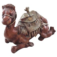 """Large Antique 9"""" Figural Camel Inkwell"""