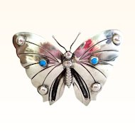 Unusually Large 1920s-1940s  Mexico Silver Moth or Butterfly Pin