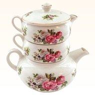 Vintage Kent Foley Harmony Rose STACKING Teapot