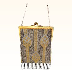 Made in France French Steel Beaded Purse Tricolor Gold, Silver and Bronze