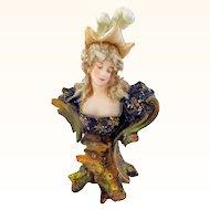 Teplitz Miniature Art Nouveau Bust of Woman
