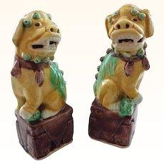 3-Color (Sancai) Chinese Foo Dog Pair