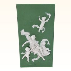 Antique 19th C Jasperware Plaque with Cupid, Cherubs,  Beautiful Woman, and Sea Dolphin