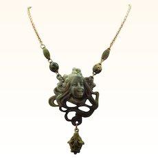 Marvelous Faux Jade Art Nouveau Style Thermoplastic Necklace