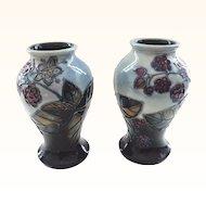 Moorcroft Bramble Pair of Vases