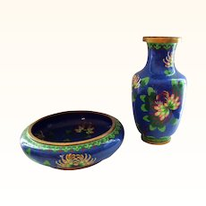 Vintage Set of Chinese Cloisonne Vase and Bowl