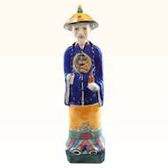 Signed Chinese Imperial Elder Figure in Traditional Blue Robe