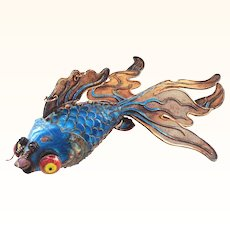 7 Inch Chinese Silver Enamel Giant Articulated Fancy Googly Eyed Fish