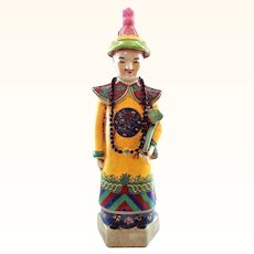 Chinese Statue of Court Officer in Traditional Costume with Yellow Robe