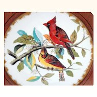 Framed Hand Painted Plate of Cardinals