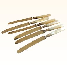 Group of 6 Mother of Pearl Handled Sterling Banded Knives
