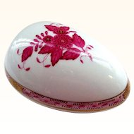 Herend Hand Decorated Egg Form Box