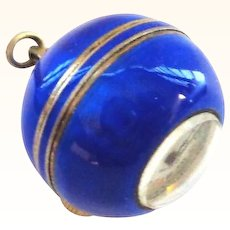 Cobalt Blue Enamel on Sterling Swiss Ball Pendant Watch