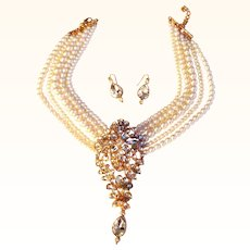 Faux Pearl and Faux Diamond Show Stopper Necklace and Earrings