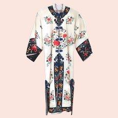 Gorgeous White Satin Silk Chinese Embroidered Robe
