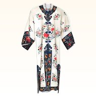 Gorgeous White Satin Silk Chinese Embroidered Robe