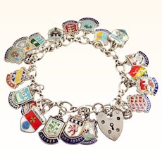 20 Enamel on Sterling Silver Travel Touring Charms on Bracelet