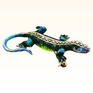 Sparkly Enamel on Sterling German Lizard Pin or Pendant