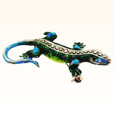 Sparkly Enamel on Sterling German Lizard Pin or Pendant