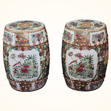 "19"" Vintage Chinese Pair of Garden Seats or Stools Rose Canton"