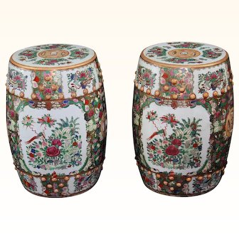 """19"""" Vintage Chinese Pair of Garden Seats or Stools Rose Canton"""