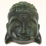 Jade Buddha Carved Head Pendant or Sculpture