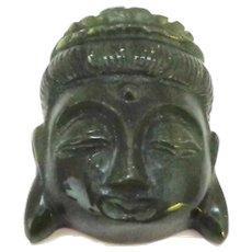 Jade Buddha Carved Head Pendant or Sculpture