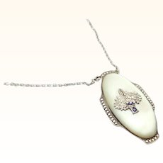 Austrian 935 Sterling Silver Pendant with Marcasites on Mother of Pearl
