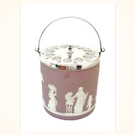 Antique LILAC and Silver Plate Wedgwood Biscuit Jar